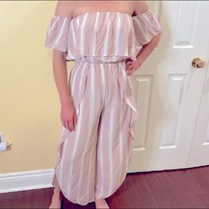 NWOT gorgeous white and pink jumpsuit